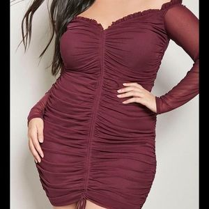 Forever 21 3X Burgundy Ruched Bodycon Dress